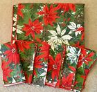 CHRISTMAS LINEN TABLECLOTH 6 NAPKINS POINSETTIAS PINE CONES 56X88 NEVER USED VTG