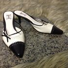 SHOES Brand Sz 6.5 M Black and White Leather Backless Slide on Pumps Heels
