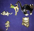 Lot of 5 Misc. Cat Kitten Pins 2 Of Them Are Signed JJ And Match
