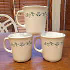 3 Corelle Corning USA Country Cottage Blue Heart Coffee Cups Tea Mugs D Handle