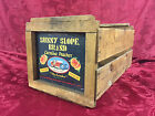 Vintage Authentic Wooden Sunny Slope Peach Crate   Great Patina   Very Versatile