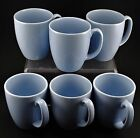 Set of 6 Corelle Stoneware Pastel Blue Coffee Cups / Mugs Country Cottage EUC