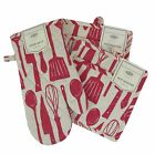 Oven Mitt and 2 Potholders Set Raymond Waites Red and White BBQ Tool Design