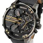 New DIESEL Mens Watch Mr Daddy 2.0 Black dial Black Leather Chronograph DZ7348