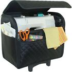 Mary Black Quilted Rolling Tote Telescoping Handle