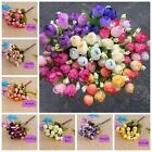 Decor Party DIY Faux Silk Fake Flowers Mini Rose Artificial 15 Head