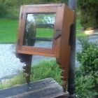 Vintage Wood Wall Mount Medicine Cabinet - Door Mirror - 2 Shelf - Very Good