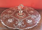 VINTAGE LARGE DISPLAY DISH CENTER HANDLE SCALLOP EDGE ETCHED ORCHIDS