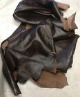 BR309 Leather Cow Hide Cowhide Upholstery Craft Fabric Dark Brown 55 sq ft