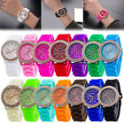 Ladies Womens Girl Geneva Silicone Quartz Golden Crystal Stone Jelly Wrist Watch