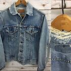 Vintage Levis Jean Jacket Mens 505 0217 Destroyed Small M Grunge Faded USA Made