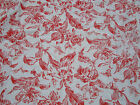 April Cornell Red & White Botanical Floral Cotton Fabric Tablecloth 46.5x49.5