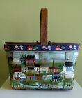 1960's Vtg Hand Painted Wooden Picnic Basket Split Box Purse Country Village MS