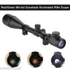 6 24X50 AOEG Tactical Rifle Scope Hunting Red Green Dot Illuminated Sight+Mount