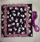 White Skulls With Pink Cross Bones Pink Lace Handmade Cloth Covered Photo Album