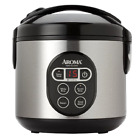 Aroma 8-Cup (Cooked) Digital Rice Cooker and Food Steamer Stainless Steel - New