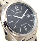 CITIZEN MEN ECO DRIVE STAINLESS STEEL BLACK FACE DATE 50m AW1370-51E