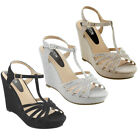 Womens Summer Shoes Glitter T strap Cage Platform Wedge Dress Sandals
