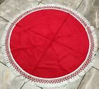 Vintage Christmas Dining Tablecloth Fur Tree Skirt 47 Round with Fringe