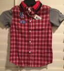 NWT DIESEL Boys 8 Button Down Red Plaid Short Sleeve Shirt W Grey Sleeves 65