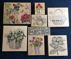 Wood Rubber Stamps Various Floral Stamps