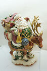 FITZ AND FLOYD FIGURINE CENTERPIECE CHRISTMAS SANTA JOLLY OLE ST NICK REINDEER