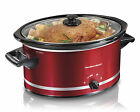Red Slow Cooker Hamilton Beach 8 Quart Mess Free Lid Large Meals Cooking New