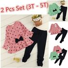 3T 5T Toddler Kids Baby Girls T shirt Tops+Pants Outfits Clothes 2PCS Set