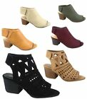 Womens Cute Fashion Peep Toe Low Chunky Heel Sandals Shoes Size 55 11 NEW