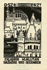 Architecture Ex libris Bookplate by Arpad Daniel Nagy Hungary 1965
