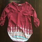 Womens Size S Pink Republic 3 4 Sleeve Top v Neck Maroon Red
