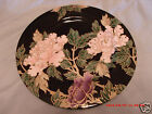 NEW FITZ & FLOYD FLORAL CLOISONNE PEONY BLACK GOLD TRIM JAPAN ACCENT SALAD PLATE