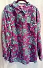 Womens Woman Within Soft Pink  Green Paisley Button Down Shirt Size 1X