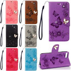 3D Butterfly Bling Strass Flip Patterned PU Leather Card Slot Wallet Case Cover