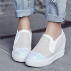 Womens Shiny Glitter Breathable Fashion Sneakers High Heels Summer Ankle Boots