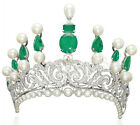 12.83ctw NATURAL DIAMOND EMERALD PERAL 14K WHITE GOLD WEDDING ANNIVERSARY TIARA