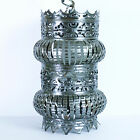 Swag Lamp Boho Ceiling Hanging Reticulated Tin Can Moroccan Silver Art Vtg