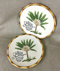 2 Fitz & Floyd Plate Plates Cape Town Botanical Tree Ceramic Bamboo Rim Vintage
