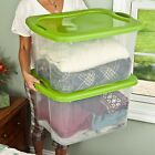 6 PACK Plastic Tote Storage Container Large Organizer Box with Lids Bin Set 70qt