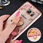 Bling Diamond Soft Clear Case Cover  Ring Stand for Samsung Galaxy S8 S8 Plus