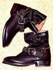 ASH Vicious Studded Brown leather Motorcycle ankle boots Sz37 7 NWOB 29500