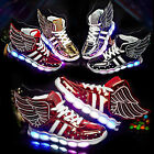 Children Boys Girls 7 LED Light Up Wings Shoes Luminous Casual Sneakers Trainers