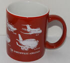 Northwest Airlines Coffee mug Red & White Airplanes cup 3 3/4