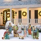 9 piece Outdoor Nativity Set Hand Sculpted Hand Painted Christmas Holiday