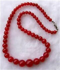 Red Jasper 6-14mm round beads necklace tower chain 18 inch DIY stone beautiful