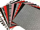 12X12 Scrapbook Paper lot 14 Sheets Red black Gray White Card Making L4