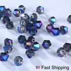 110pc Fire Glass AB Metal Blue Crystal Bicone Facet Bead Spacer Swarovski 3 4mm