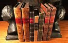 Antique Georgian Decorative Ornate Leather Bindings Collection of 7 + Bookends