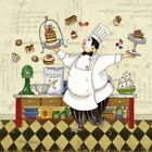 Chef Pastry Poster Print by Pamela Gladding (12 x 12)