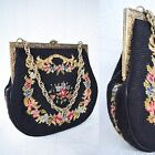 Vtg Needlepoint Petit Point victorian Floral tapestry Evening Handbag Purse